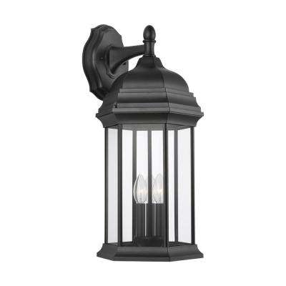 Sevier 3-Light Black Outdoor Wall Lantern Sconce