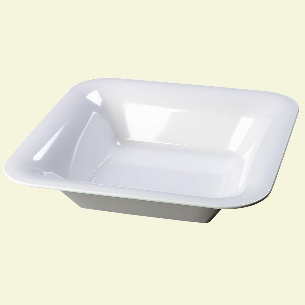 14.0 in. square, Melamine Designer Displayware Wide Rim Bowl in White