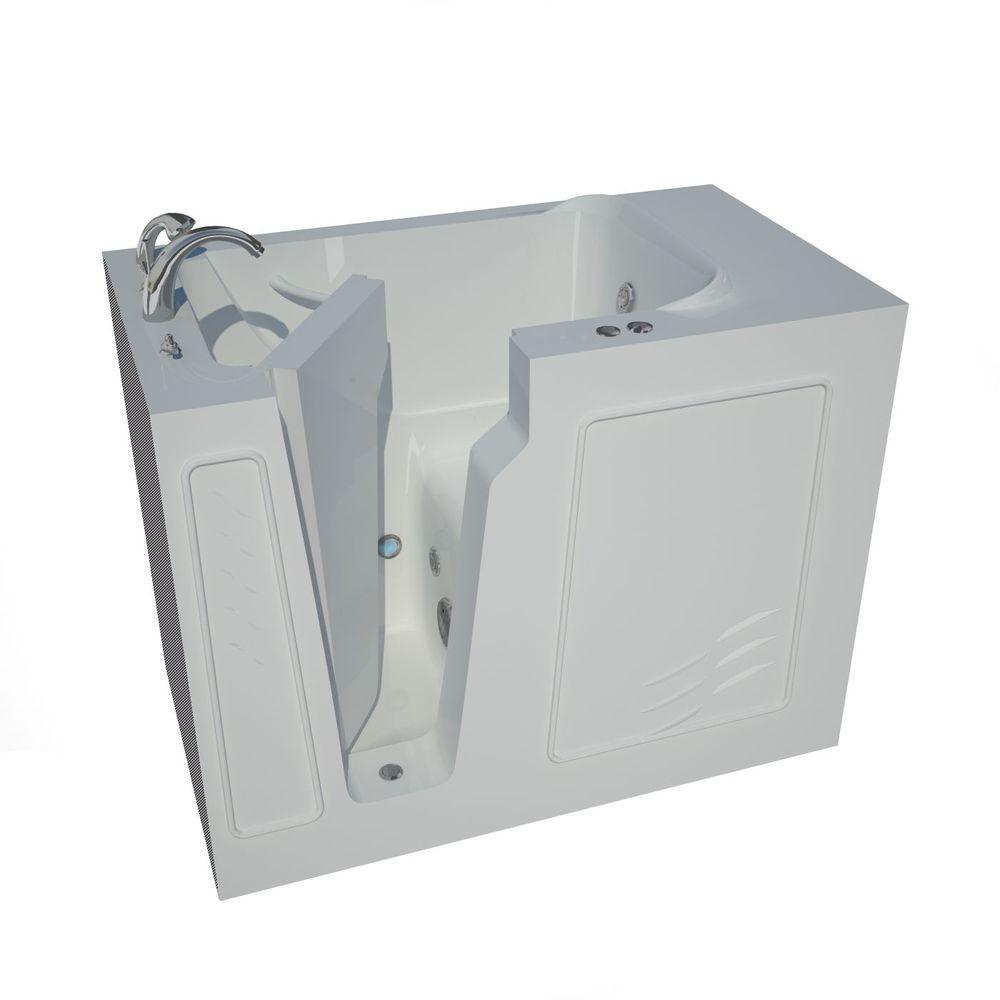 Nova Heated 4.4 ft. Walk-In Whirlpool Bathtub in White with Chrome
