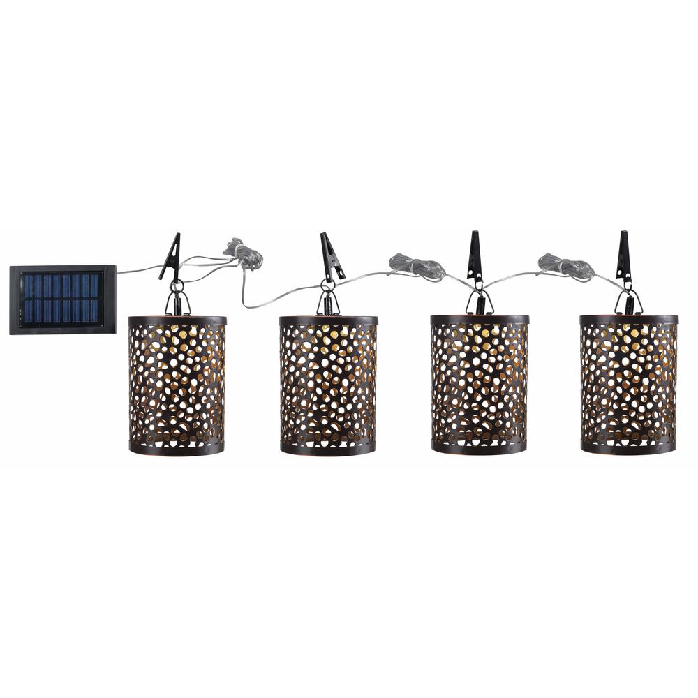 Kenroy Home Outdoor 4 25 In Solar Umbrella Light Integrated Led String Light With 4 Lights