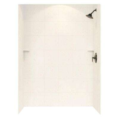 Square Tile 36 in. x 62 in. x 96 in. 3-Piece Easy Up Adhesive Alcove Shower Surround in Baby's Breath