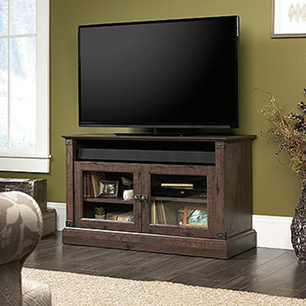 Sauder Carson Forge Coffee Oak 47 In Tv Stand 422036 The Home Depot