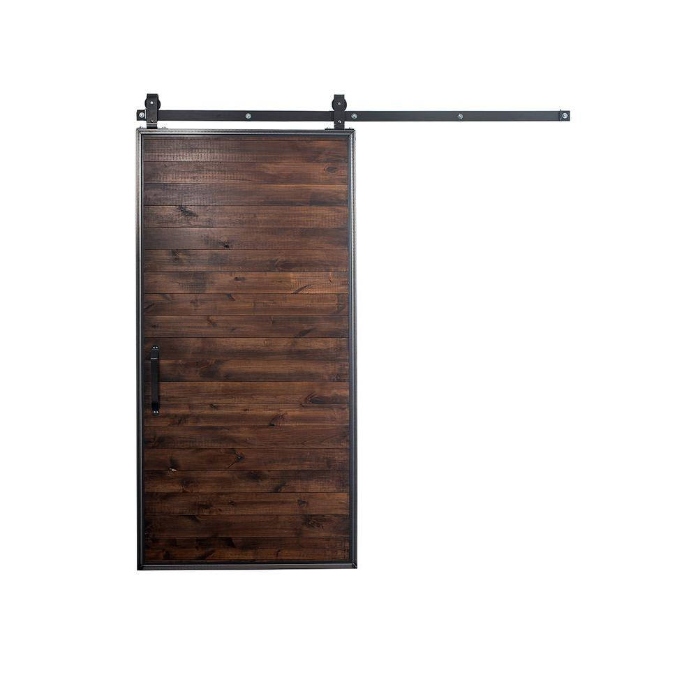 42 X 84 Brown Barn Doors Interior Closet Doors The Home Depot