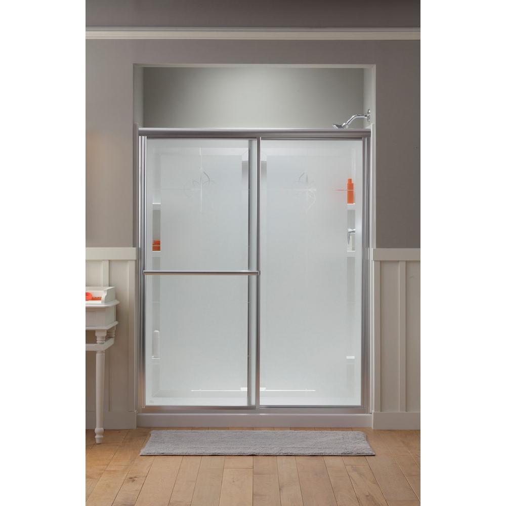Deluxe 59-3/8 in. x 70 in. Framed Sliding Shower Door in Nickel with Handle
