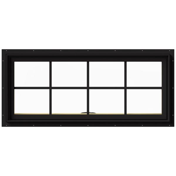 48 in. x 20 in. W-2500 Series Black Painted Clad Wood Awning Window w/ Natural Interior and Screen