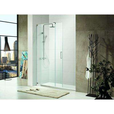 OasisLux Premium 60 in. x 72 in. Semi-Framed Sliding Shower Door in Chrome with Tempered Clear Glass