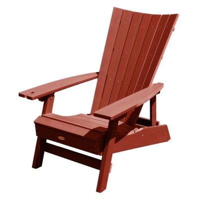 Manhattan Beach Rustic Red Folding and Reclining Recycled Plastic Adirondack Chair with Wine Glass Holder