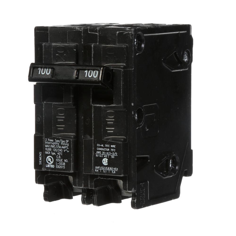 Siemens 100 Amp Double-Pole Type QP Circuit Breaker-Q2100P - The ...