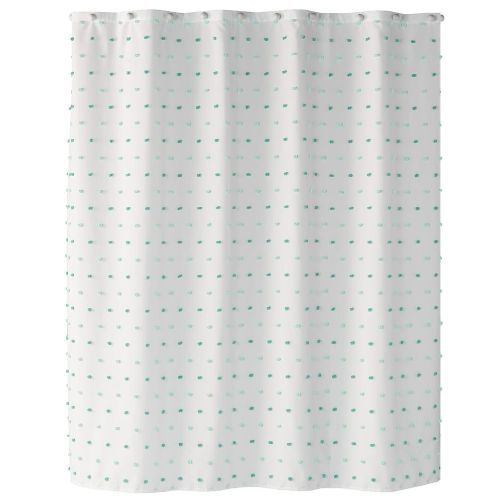 Saturday Knight Colorful Dot 72 In Aqua Shower Curtain S1758700200001