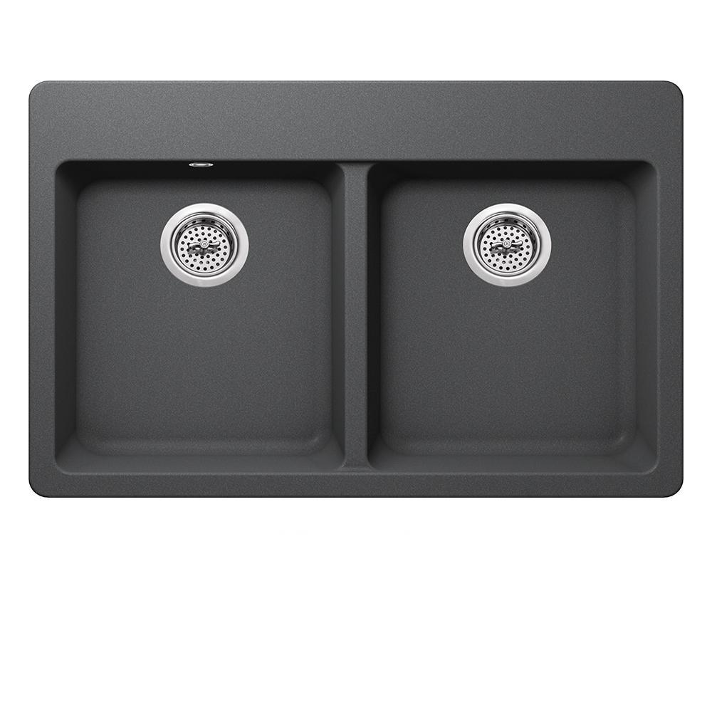 Dual Mount Quartz 33 in. 50/50 Double Bowl Kitchen Sink in Gray