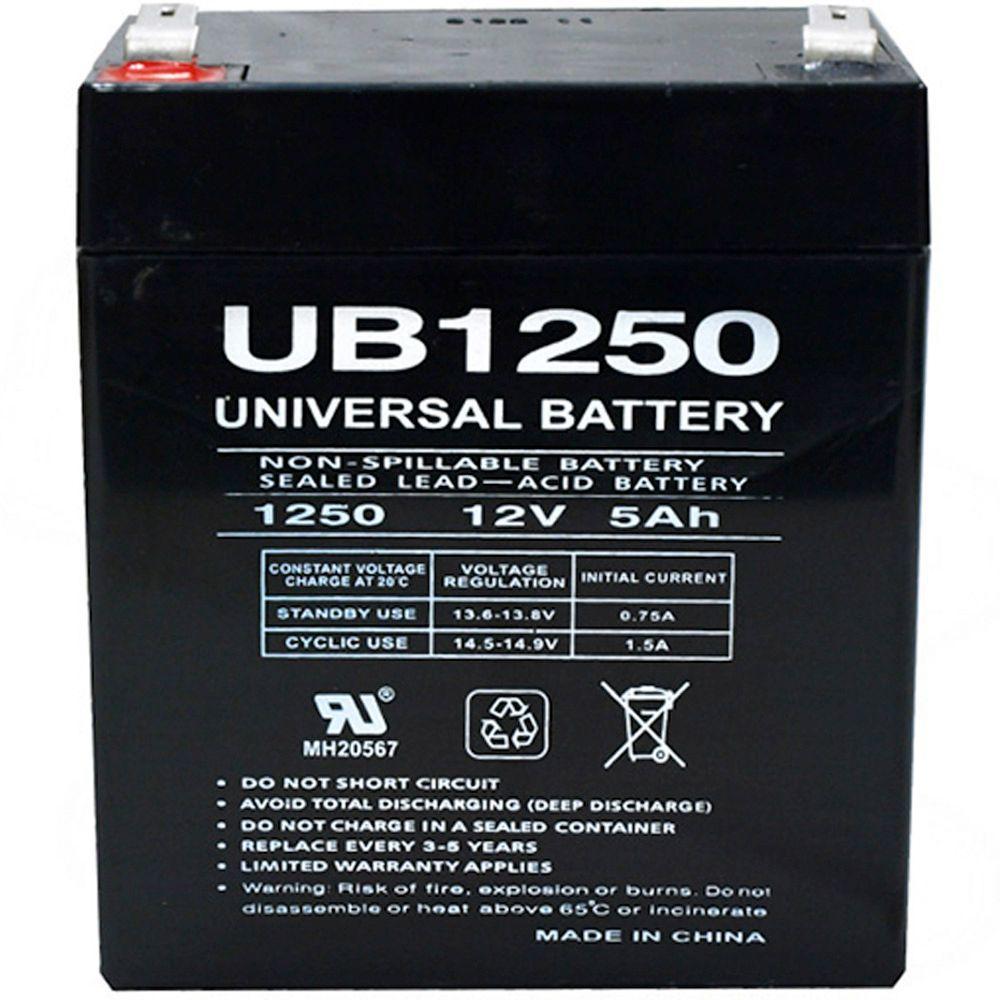 12-Volt 5 Ah F2 Terminal Sealed Lead Acid (SLA) AGM Rechargeable Battery