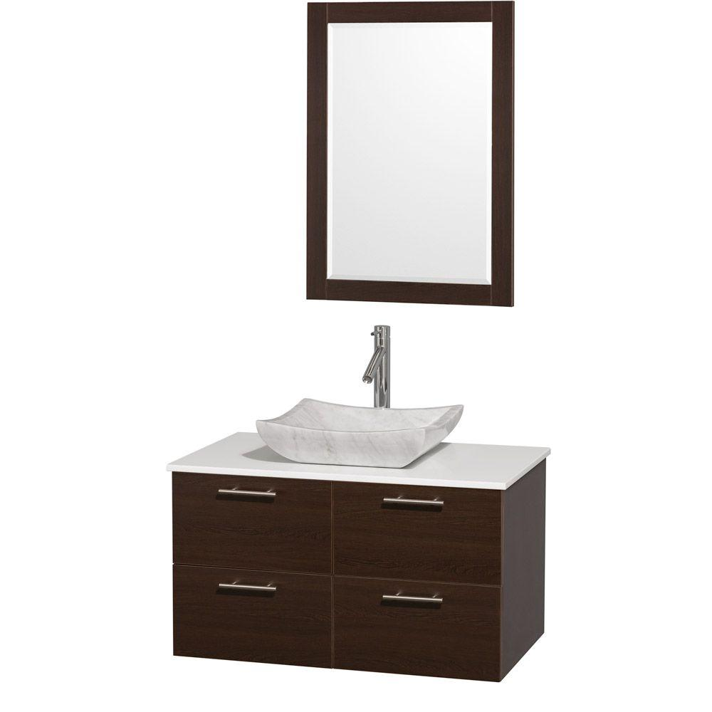 Wyndham Collection Amare 36 in. Vanity in Espresso with Man-Made Stone Vanity Top in White and Carrara Marble Sink