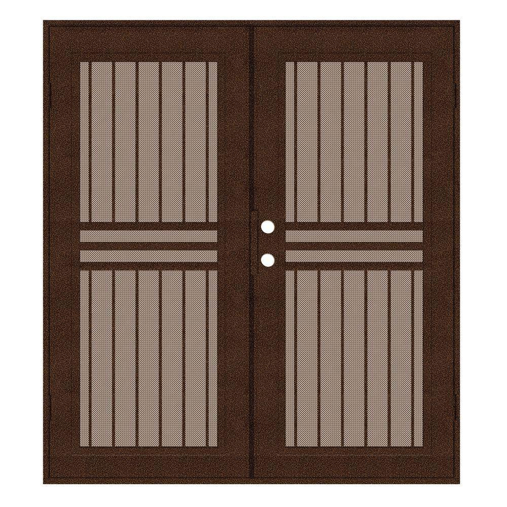 Unique Home Designs 72 in. x 80 in. Plain Bar Copperclad Left-Hand Surface Mount Aluminum Security Door with Desert Sand Perforated Screen