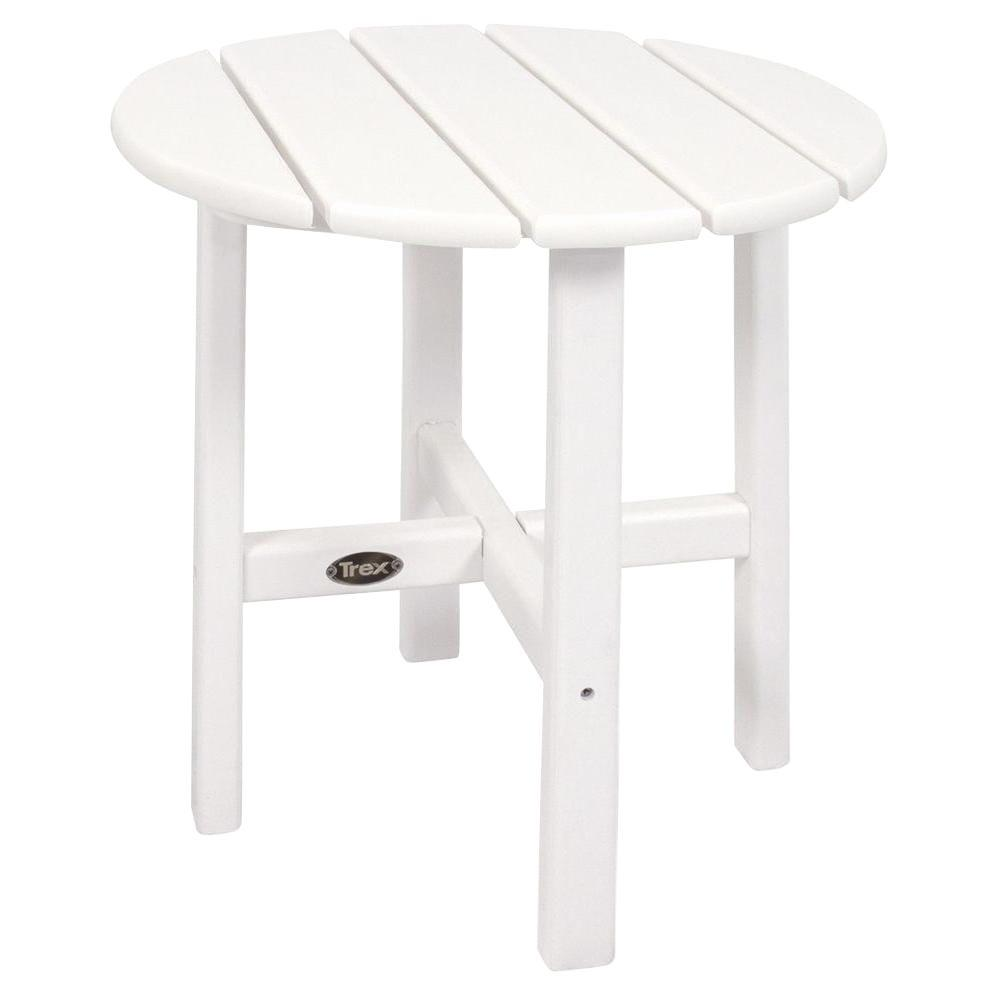Clic White Round Plastic Outdoor Patio Side