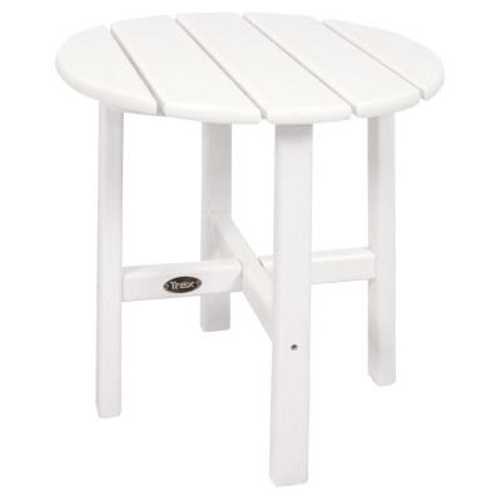 Cape Cod 18 in. Classic White Round Plastic Outdoor Patio Side Table