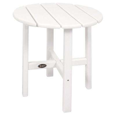 Cape Cod 18 in. Classic White Round Plastic Outdoor Patio Side Table