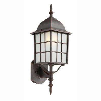 Cityscape 1-Light Outdoor Rust Coach Lantern with Frosted Glass