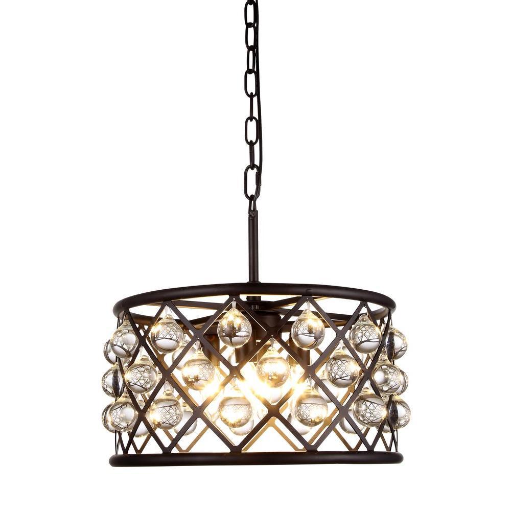 Madison 4-Light Mocha Brown Royal Cut Crystal Clear Pendant