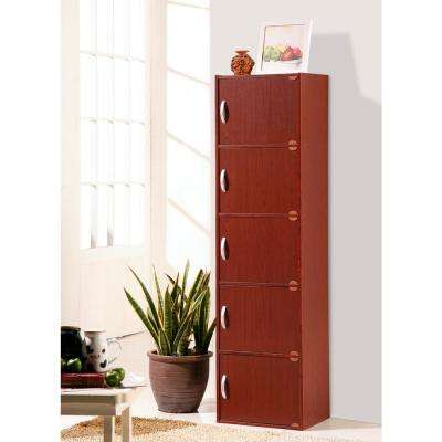 5-Shelf, 59 in. H Mahogany Bookcase with Doors