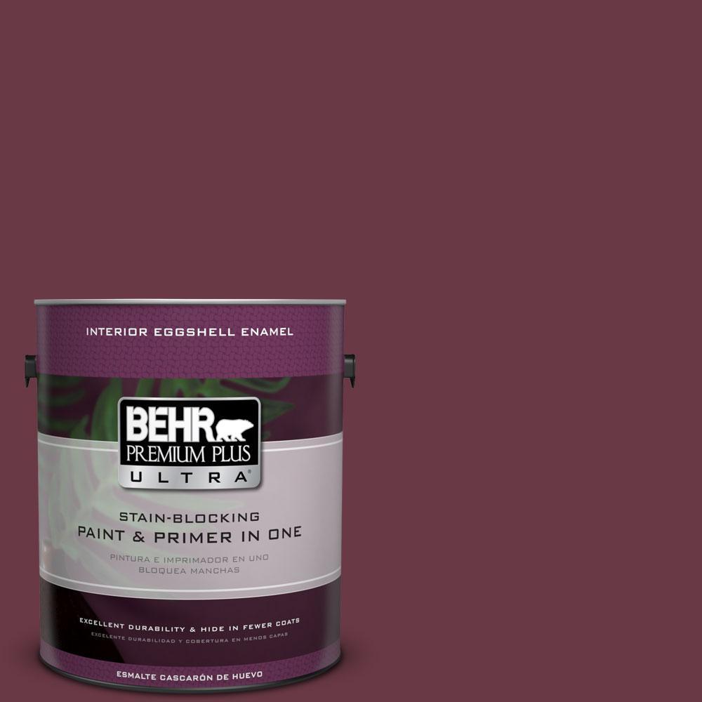 BEHR Premium Plus Ultra 1-gal. #110D-7 Vin Rouge Eggshell Enamel Interior Paint