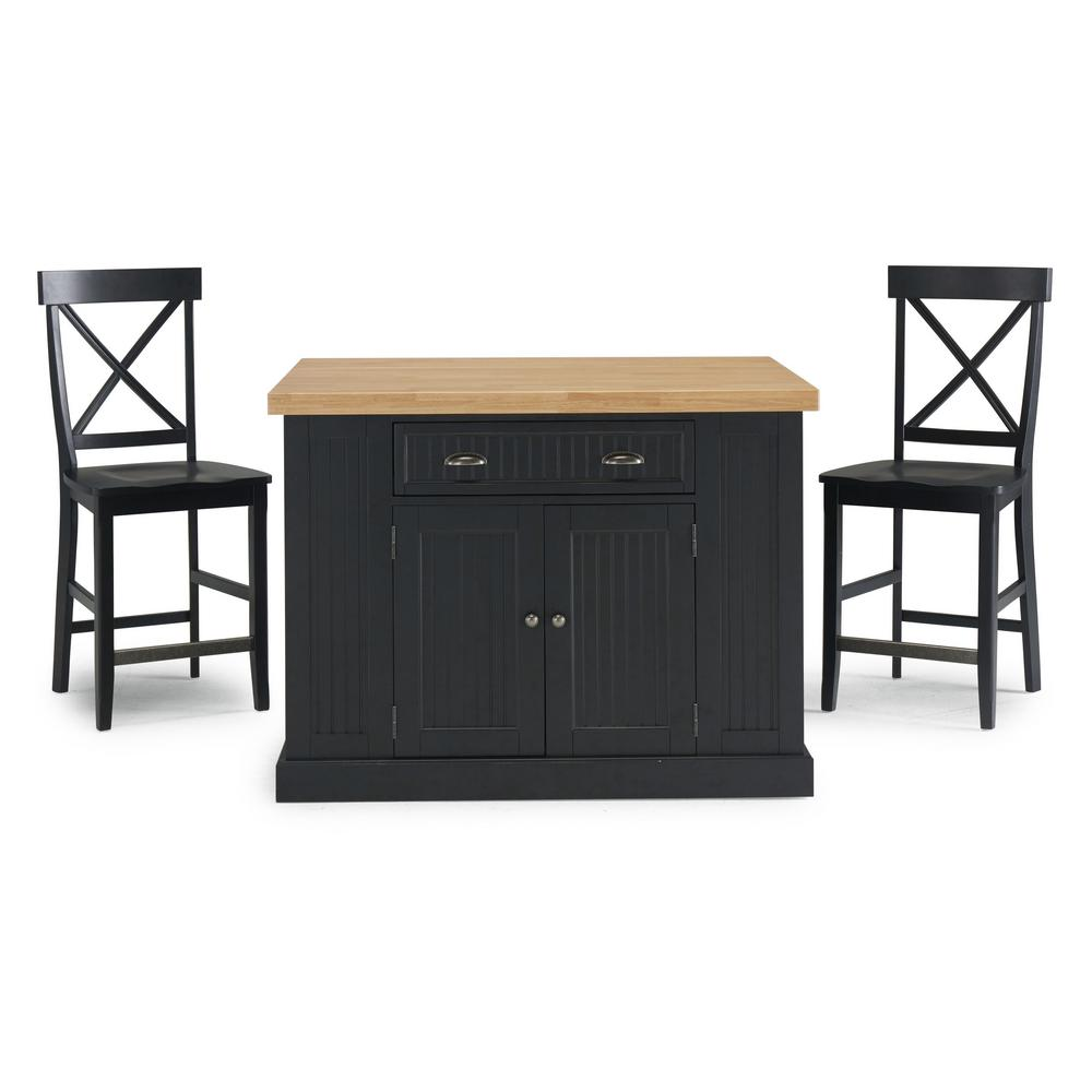 Homestyles Black Kitchen Wood Top Counter Stools 21272