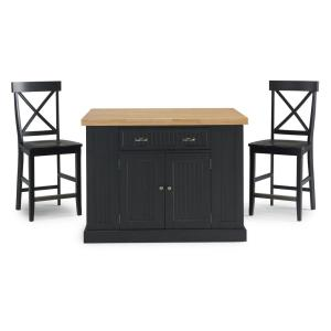 Nantucket Black Kitchen Island with Wood Top and 2-Counter Stools
