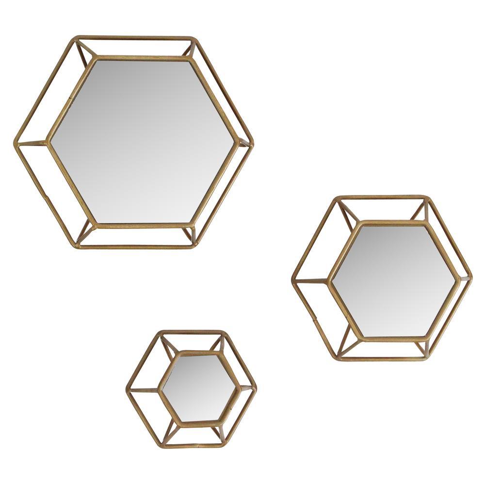Shanton Hexagonal Wall Mirrors (Set of 3)
