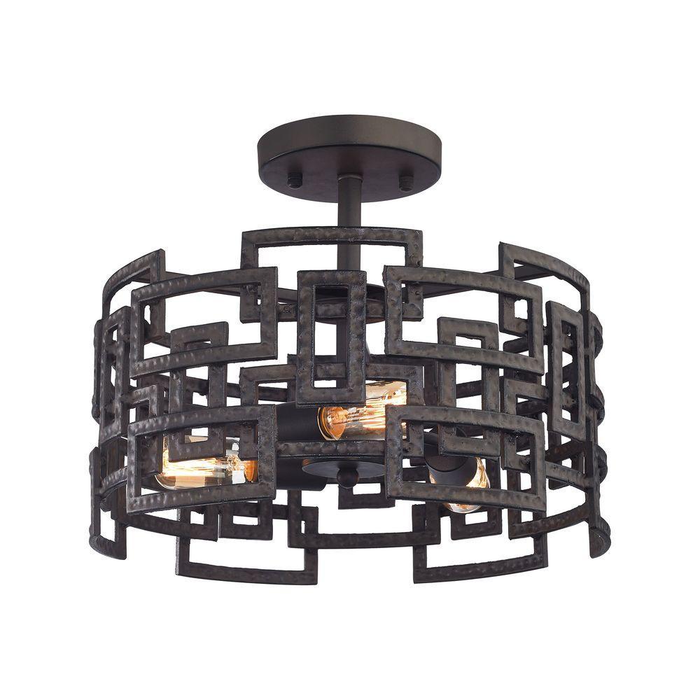 Titan Lighting Garriston 3-Light Clay Iron Semi Flush Mount