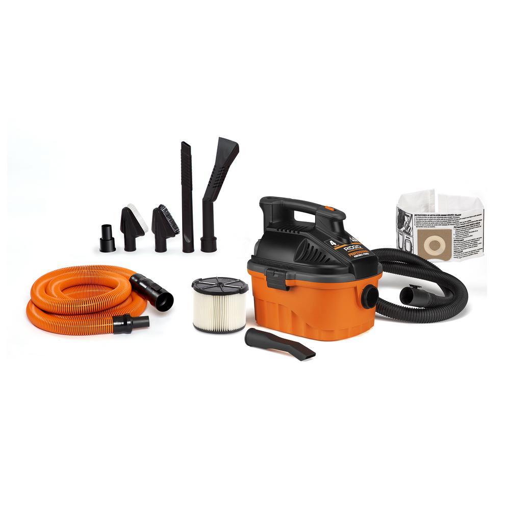 4 Gal. 5.0 Peak HP Portable Wet Dry Shop Vacuum with Premium Auto Detailing Kit
