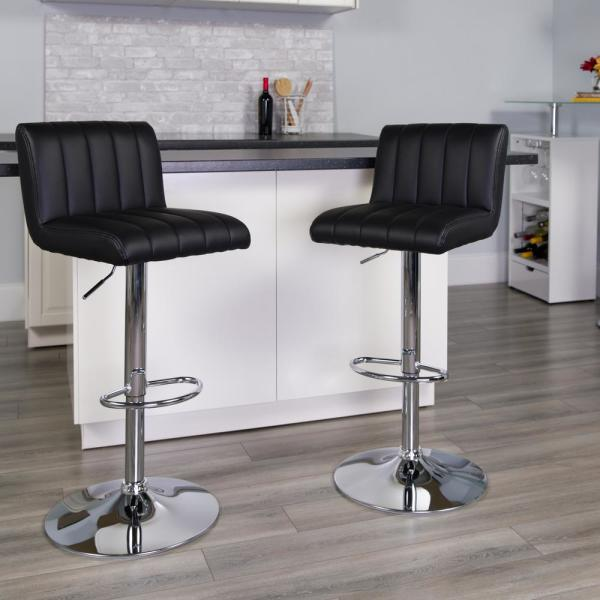 Flash Furniture 33.50 in. Adjustable Height Black Cushioned Bar Stool CH112010BK