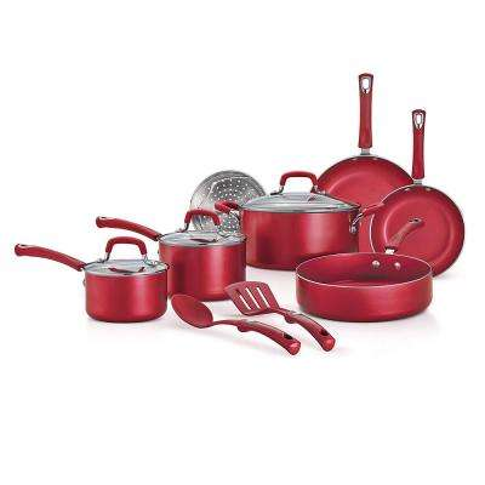 Style 12-Piece Raspberry Red Aluminum Nonstick Cookware Set