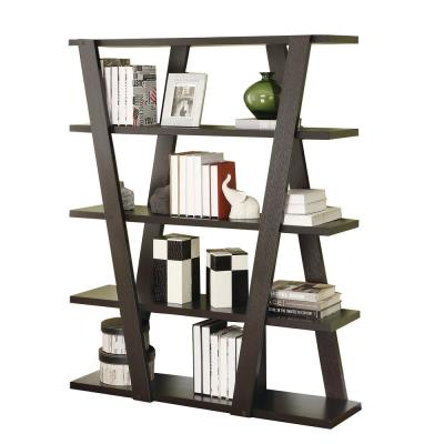 59 in. Cappuccino Wood 4-shelf Accent Bookcase with Open Back