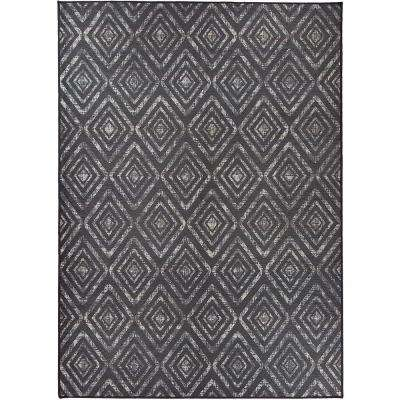 Washable Prism Dark Grey 5 ft. x 7 ft. Stain Resistant Area Rug