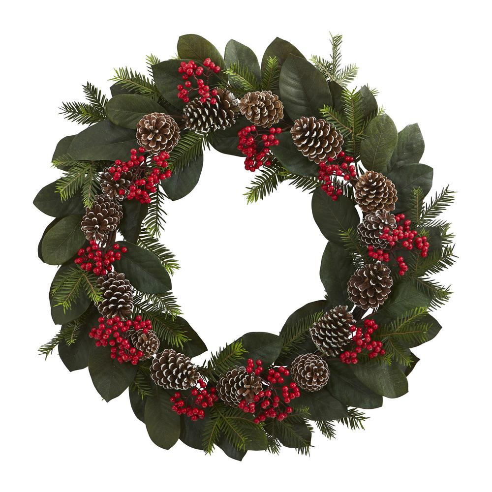 Nearly Natural 30 In Unlit Artifical Holiday Wreath With Magnolia