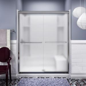 Sterling Finesse 59-5/8 inch x 70-1/16 inch Semi-Frameless Sliding Shower Door in Silver with Handle by STERLING