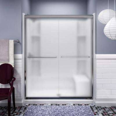 Finesse 59-5/8 in. x 70-1/16 in. Semi-Frameless Sliding Shower Door in Silver with Handle