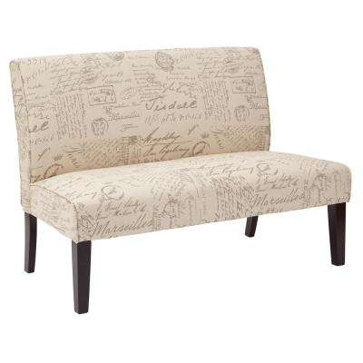 Script Fabric and Dark Espresso Legs Laguna Loveseat