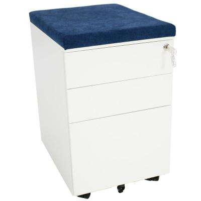 Rolling White File Cabinet with Lock and Blue Cushion