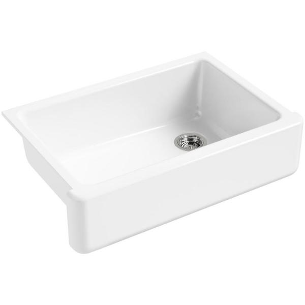 Whitehaven Farmhouse Self-Trimming Apron Front Cast Iron 33 in. Single Bowl Kitchen Sink in White