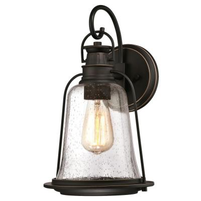 Brynn 1-Light Oil Rubbed Bronze with Highlights Outdoor Hanging Wall Lantern Sconce