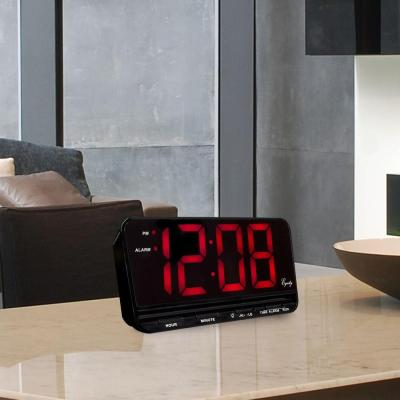 Extra-Large 3 in. Red LED Electric Alarm Table Clock with HI/LO Settings