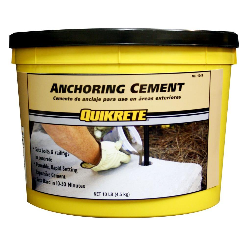 Quikrete 10 lb. Anchoring Cement, Gray Quikrete 10 lb. Anchoring Cement is a pourable, rapid setting, expansive cement that develops strength greater than concrete. This cement expands to fill voids in concrete to ensure that it locks into place. Quikrete 10 lb. Anchoring Cement is used for anchoring essentially anything metal into concrete. Can be used in both interior and exterior applications. Color: Gray.