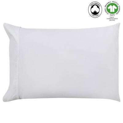 20 in. x 26 in. White Organic Cotton Wrinkle Resistant Pillow Case Pair