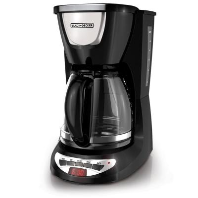 12-Cup Programmable Black Drip Coffee Maker with Glass Carafe, Built-In Timer and Automatic Shut-Off