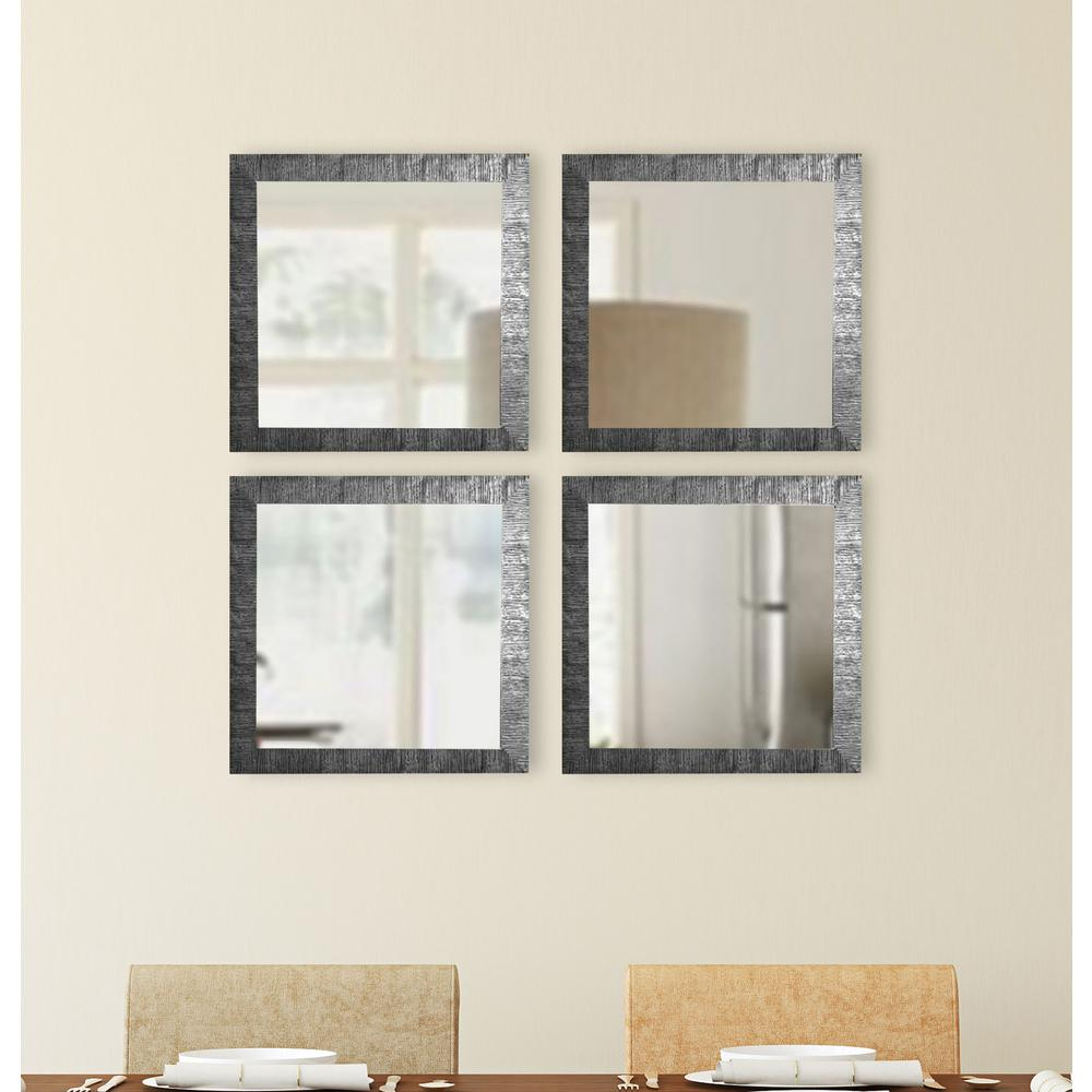 15.5 in. x 15.5 in. Safari Silver Square Wall Mirrors (Set