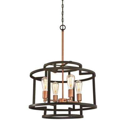 Weston 4-Light Oil Rubbed Bronze and Washed Copper Chandelier