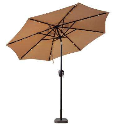 9 ft. Bluetooth Speaker Solar Lighted Market Patio Umbrella in Taupe