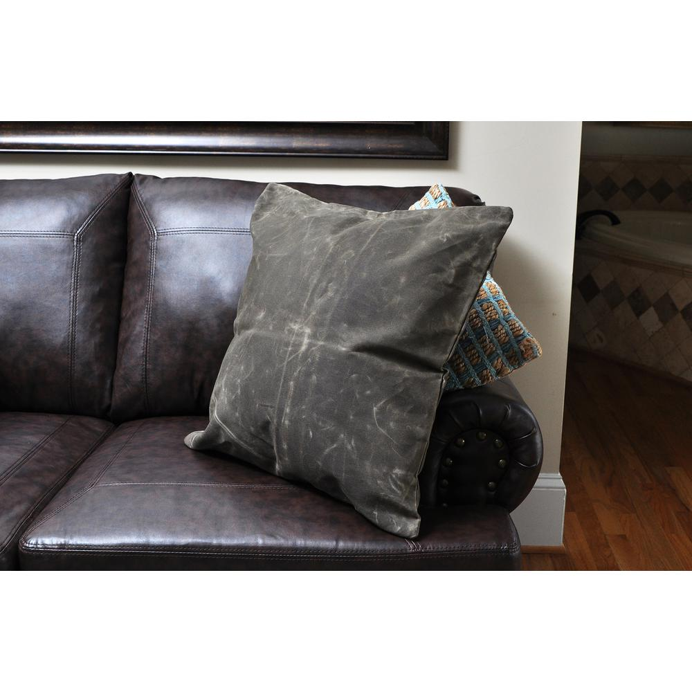 CB Station 20 In X Waxed Canvas Olive Square Standard Pillow