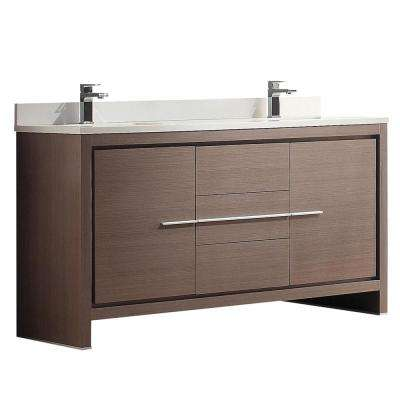 Allier 60 in. Double Vanity in Gray Oak with Glass Stone Vanity Top in White with White Basins
