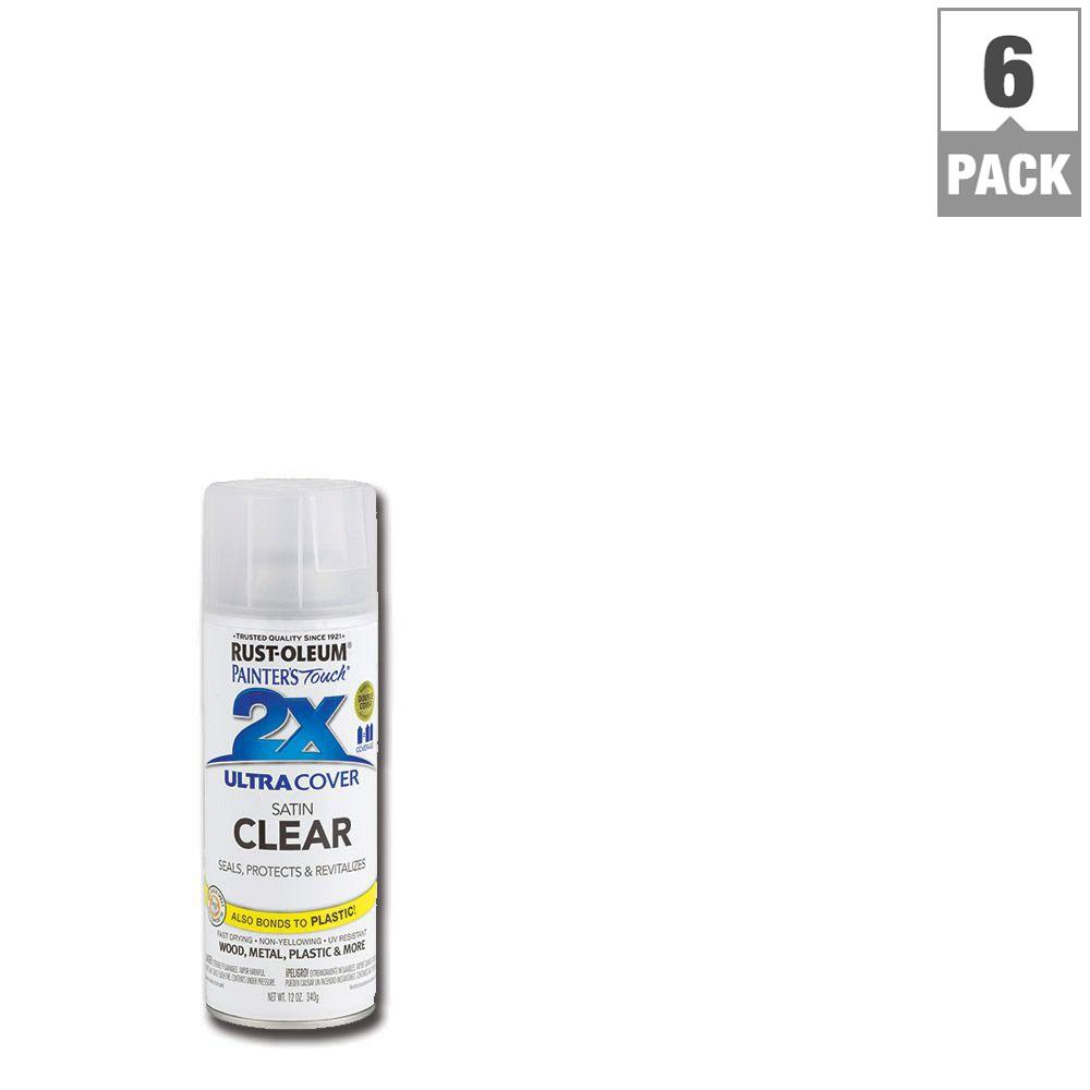 Rust-Oleum Painter's Touch 2X 12 oz. Clear Satin General Purpose Spray Paint (6-Pack)